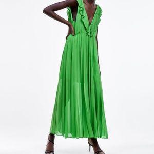 Zara Pleated Dress XL GREEN - 2731/060 NWT